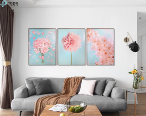 Wholesale H800mm*600mm Nordic Style Art Wall Hanging Pink Flower Painting