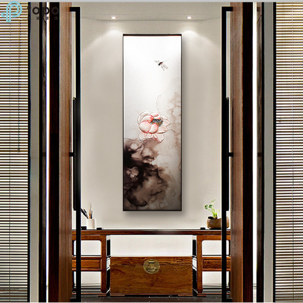 Modern Style 3D Hanging Inlaid Lotus Lining Glass Painting